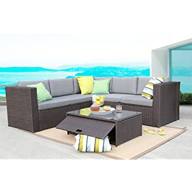 Baner Garden (K35-CH) 4 Pieces Outdoor Furniture Complete Patio Cushion Wicker Rattan Garden Corner Sofa Couch Set, Chocolate