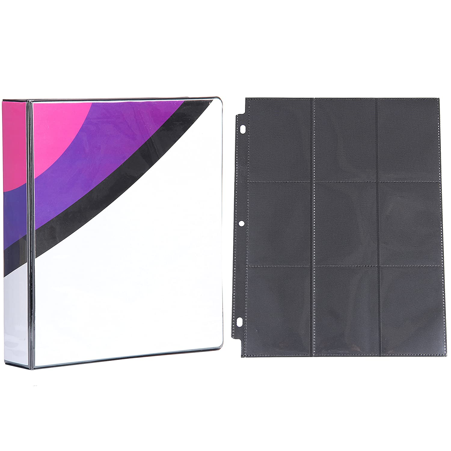 Totem World 2-inch 3-Ring Binder with 25 Black 9-Pocket Side-Loading Pages for Pokemon Cards