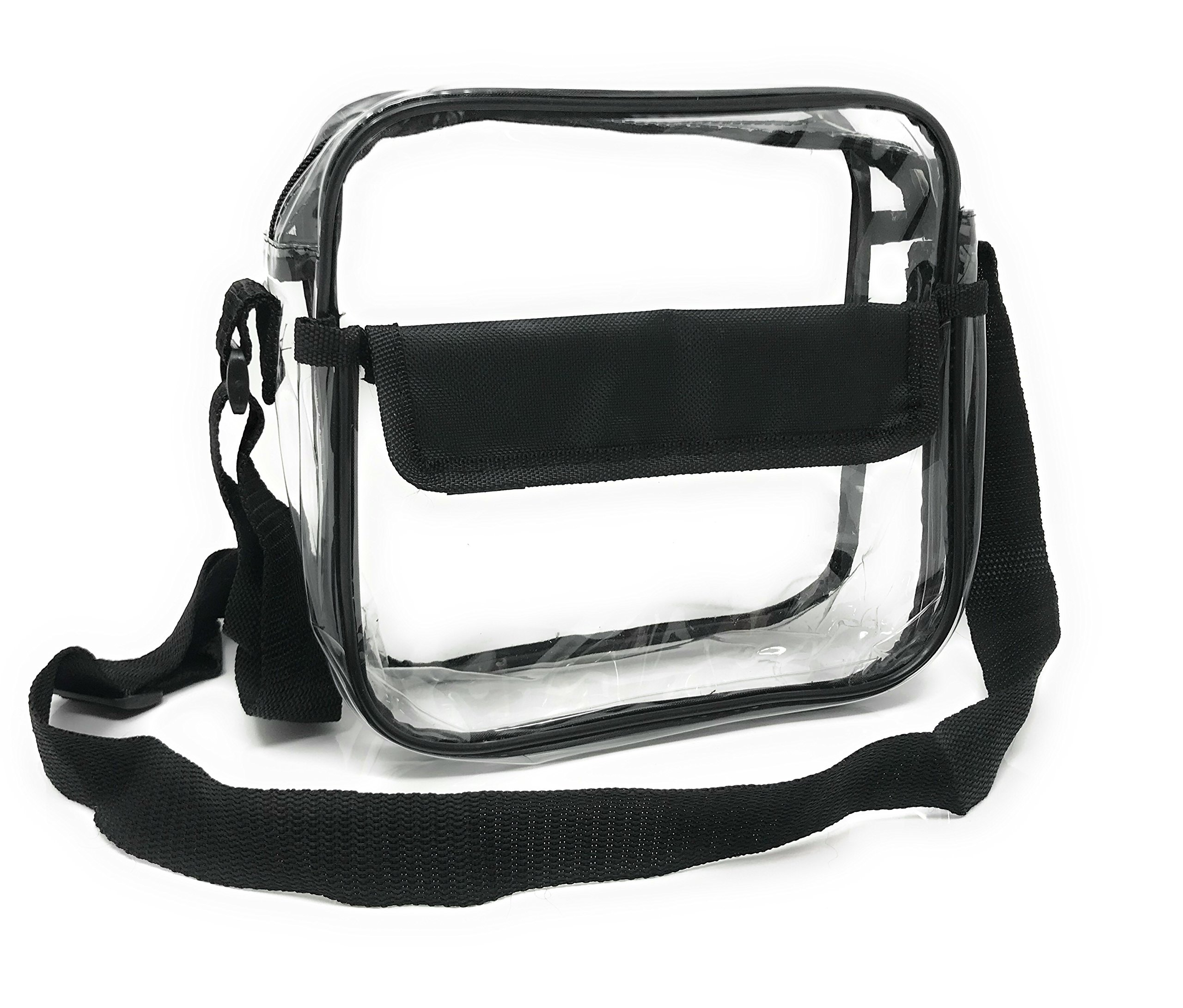 Premium Clear Bag - NFL Stadium Approved Messenger Bag Zippered for Security - Quality Crossbody Purse Messenger Design for Concerts & Games - 10'' x 10'' x 3.5''