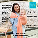 Beachfront Baby Sling – Versatile Water & Warm Weather Ring Sling Baby Carrier | Made in USA with Safety Tested Fabric & Aluminum Rings | Lightweight, Quick Dry & Breathable (One Size, Coral Sea)