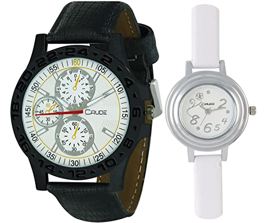 Beautiful Multicolor Dial Watches-rg543 Combo for Couple's With Lether Strap - By CRUDE