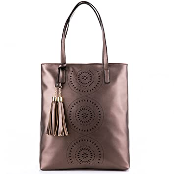 Buy Minch Tassels Leather Designer Handbags-Perforated Tote Shoulder Bags  for Women Work (Cinnamon) Online at Low Prices in India - Amazon.in 90ce3486f000