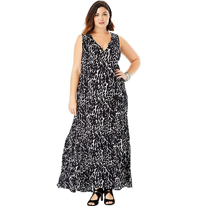Roamans Women\'s Plus Size Crinkle A-Line Maxi Dress