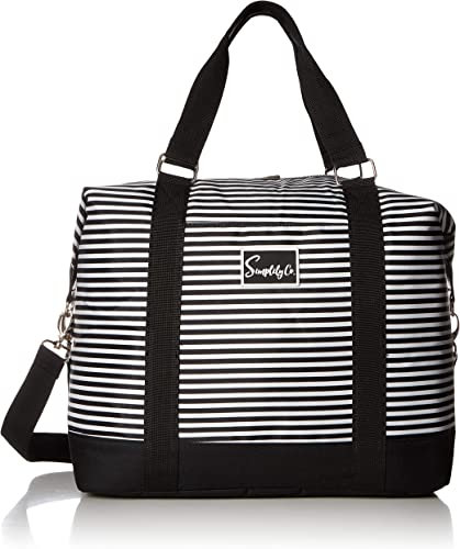 Travel Weekender Overnight Carry-on Shoulder Duffel Tote Bag 8 x 12 x 16 Large , Black White Stripes