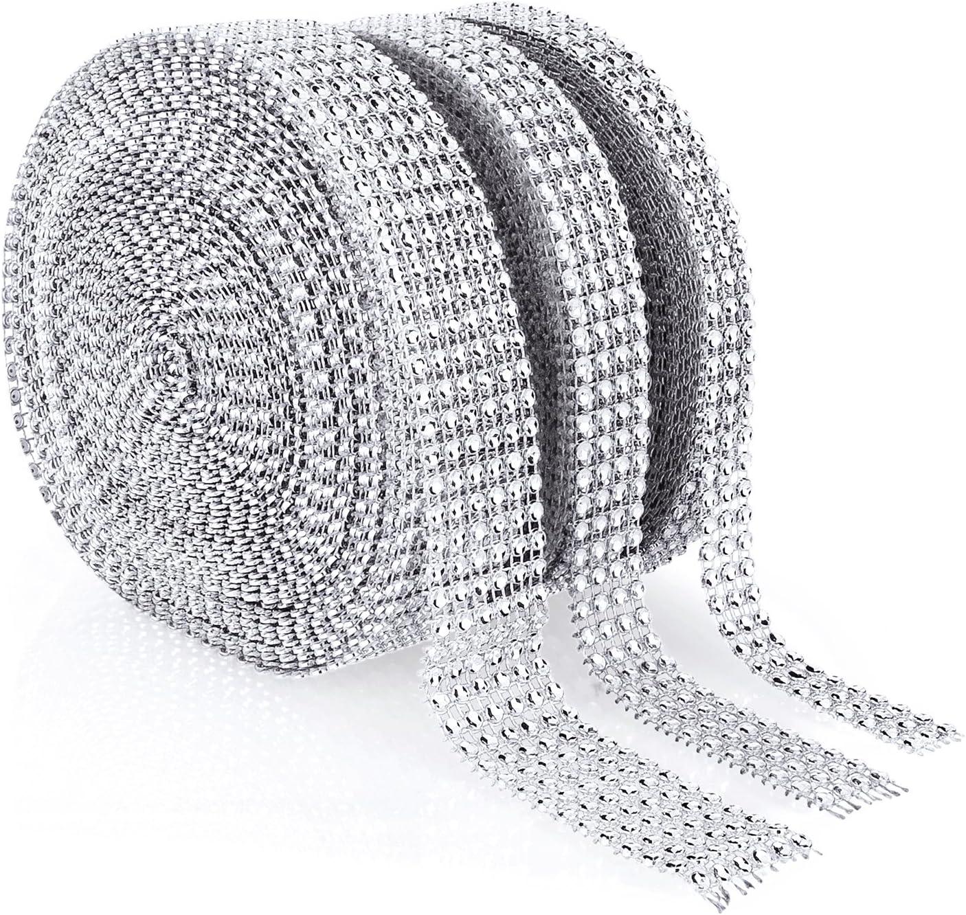 SH-RuiDu 10 Yards DIY Craft Plastic Rhinestone Mesh Ribbon Roll Wedding Ornament 24 Rows