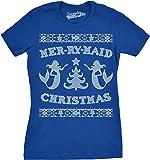 Crazy Dog Tshirts Womens Mer-RY-Maid Christmas Funny Mermaid Holiday Ugly Sweater T Shirt
