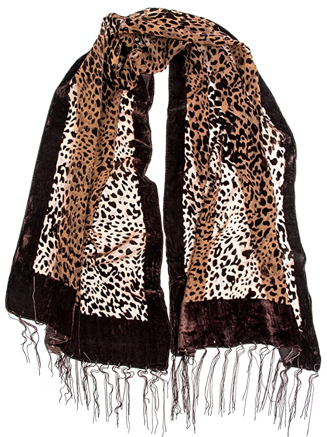 Vintage Scarves- New in the 1920s to 1960s Styles Bohomonde Tyra Scarf - Silk Leopard Pattern Velvet Burnout Scarf with Fringe Ends $17.95 AT vintagedancer.com
