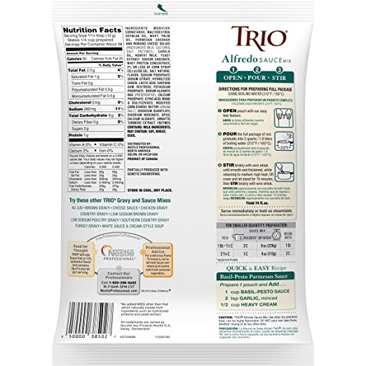 Amazon.com : Trio Alfredo Sauce Mix, Creamy Pasta Sauce, Chicken Alfredo, Romano and Parmesan Blend, 16 oz : Grocery & Gourmet Food