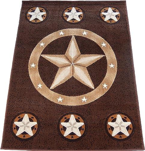 KJGRUG Texas Star Horse Cowboy Western 8×11 Area Rug Brown Carpet Actual Size 7 7 x 10