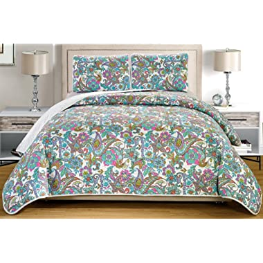 Grand Linen 3-Piece Fine printed Oversize (100  X 95 ) Quilt Set Reversible Bedspread Coverlet FULL/QUEEN SIZE Bed Cover (Turquoise Blue, Multi-Color, Paisley)