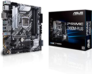 ASUS Prime Z490M-PLUS LGA 1200 (Intel 10th Gen) Z490 Micro ATX Motherboard (Dual M.2, DDR4 4600, 1 Gb Ethernet, USB 3.2 Gen 2 USB Type-A, Thunderbolt 3 Support, Aura Sync RGB)