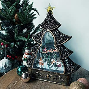 Christmas Snow Globe Lantern 8 Music Songs, USB & Battery Operated Lighted Swirling Glitter Water Lantern with Timer for Christmas Seasonal Decoration, Black Christmas Tree