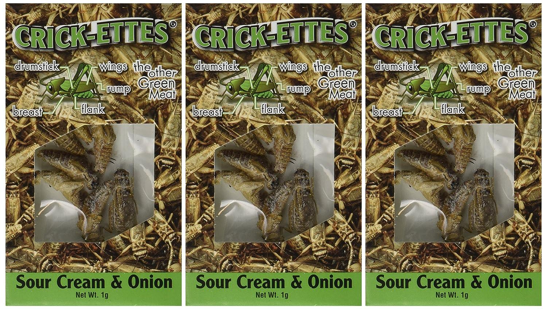 Crick-ettes - Sour Cream & Onion Flavored Cricket Snacks (3 Pack)