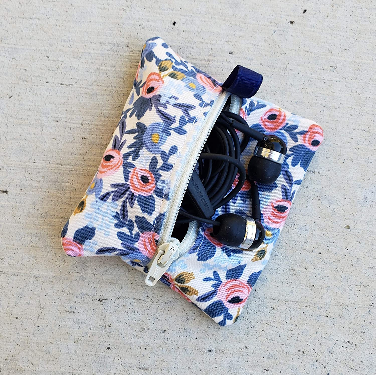 Rifle Paper Co Almafi Herb Garden Floral : Ear Bud Pouch//Earbud Holder//Zip Pouch//Mini Zip Pouch//Jump Drive Holder