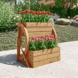 LOKATSE HOME Wooden Wagon Wheel Double-Tier Planter Outdoor Garden Decor Plant Flower Holder Stand, Brown