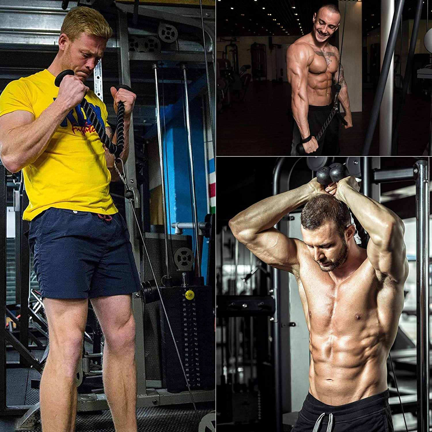 RDX Corde /à Triceps Pour Appareils Musculation C/âble Traction Pull Down Biceps Station Rope
