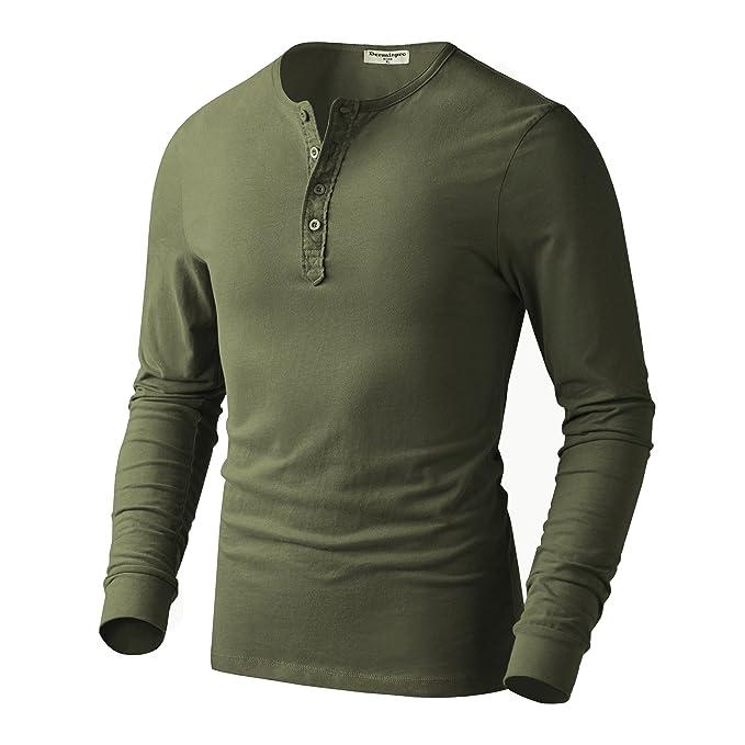 7e14ba8f984 Derminpro Men's Premium Cotton Henley Long Sleeve T-Shirts Army XX ...