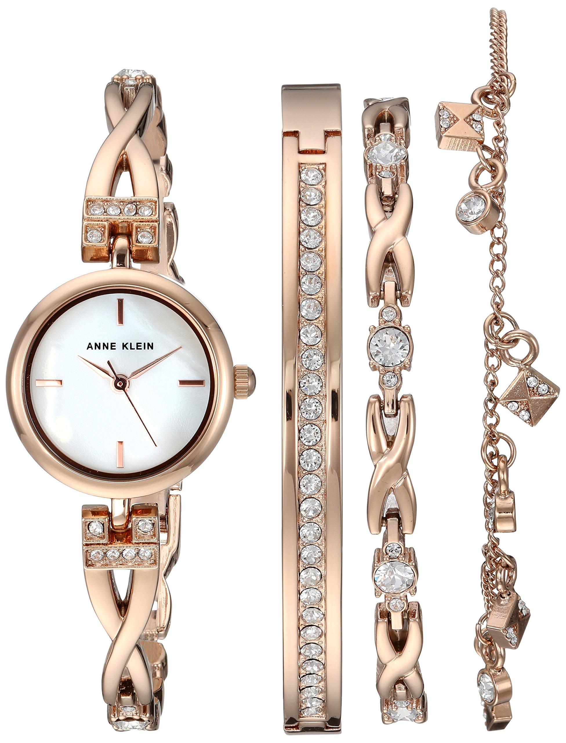 Anne Klein Women's  Swarovski Crystal Accented Rose Gold-Tone Watch and Bracelet Set by Anne Klein