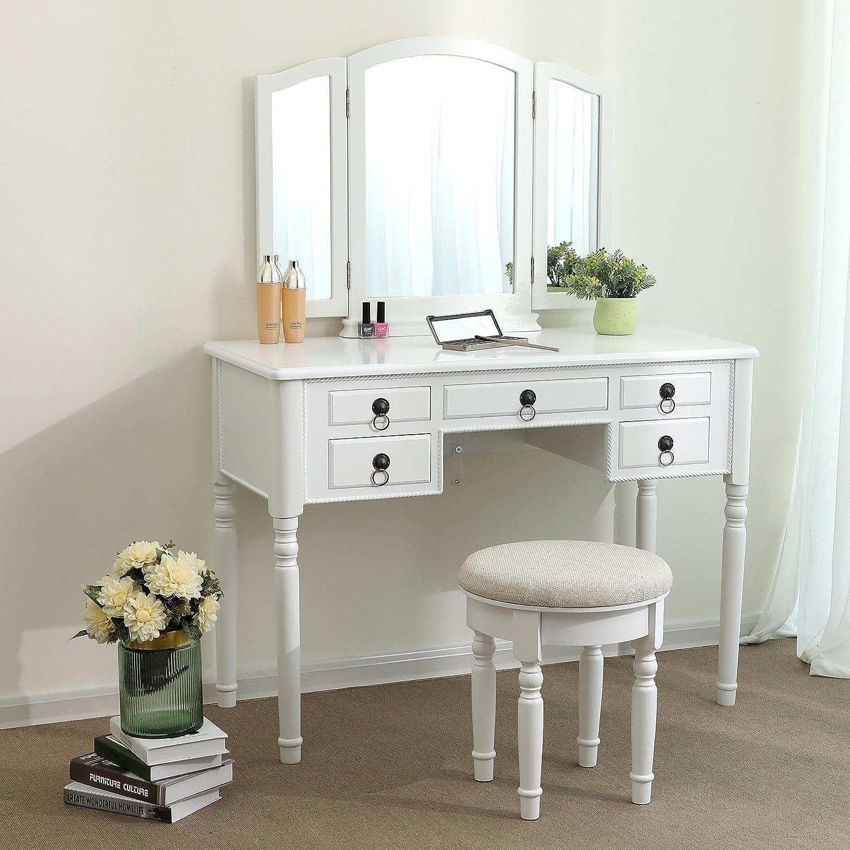 SONGMICS Vanity Set Tri-folding Mirror Make-up Dressing Table Cushioned Stool 5 Drawers White