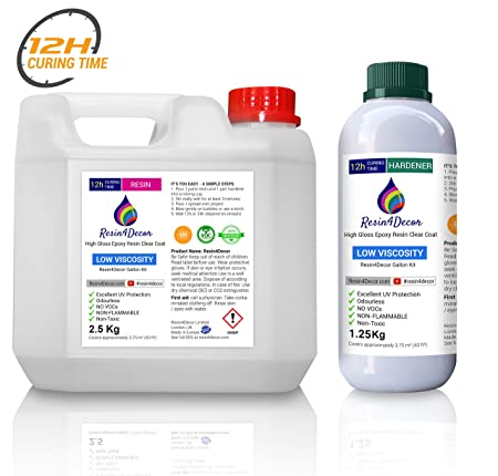 Epoxy Art Resin Fast Curing (12h) Clear Non-Toxic Resin4Decor, 1 gal (3 75  Kg)