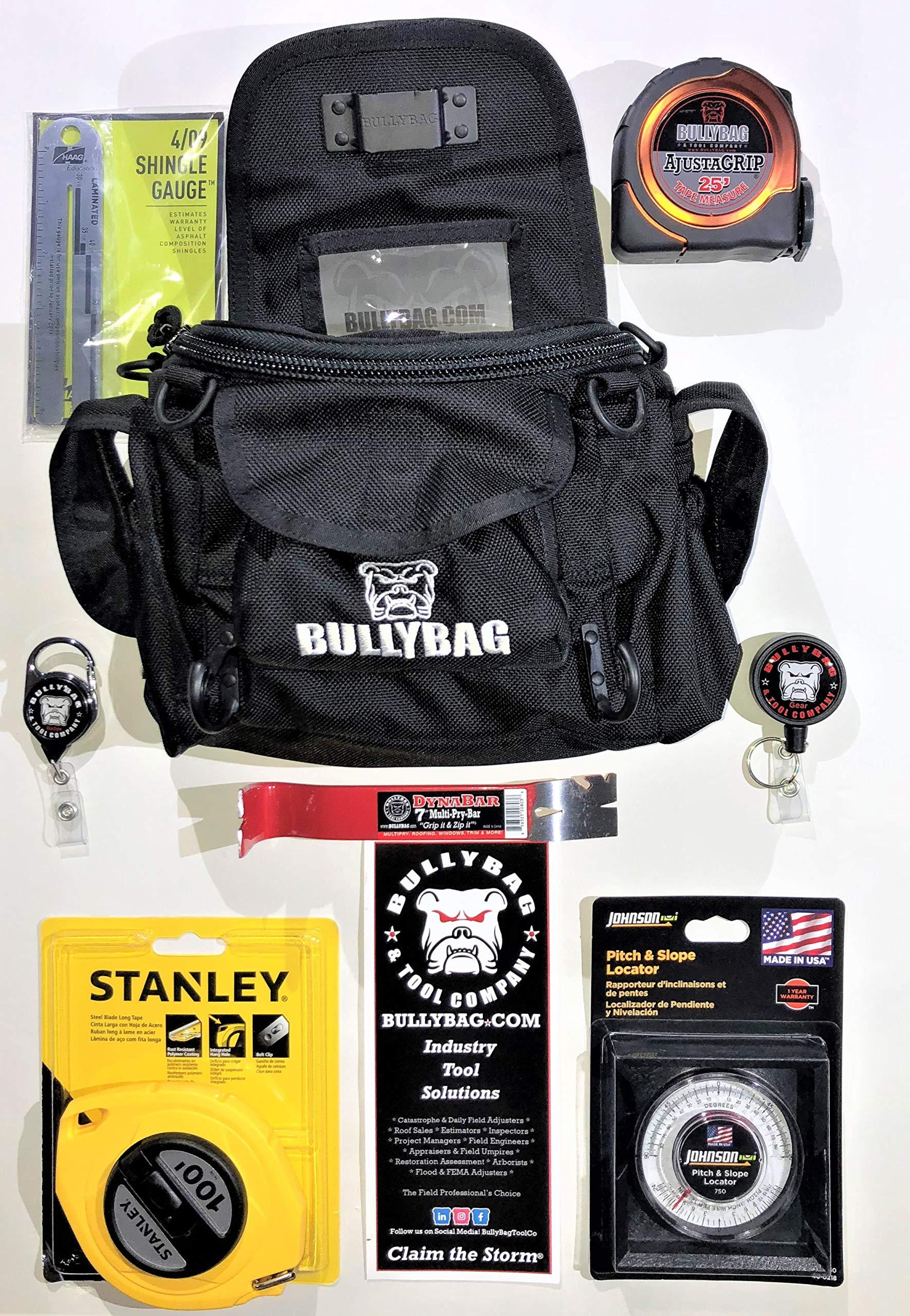 BULLYBAG 8-Pack - For Adjusters, Home Inspectors, Roof Sales, Estimators - BullyBag, Haag Shingle Gauge, Tool Managers, 25' Tape Measure, DynaBar 7'' Pry Bar, Pitch Gauge, Stanley 100' Tape by BULLYBAG