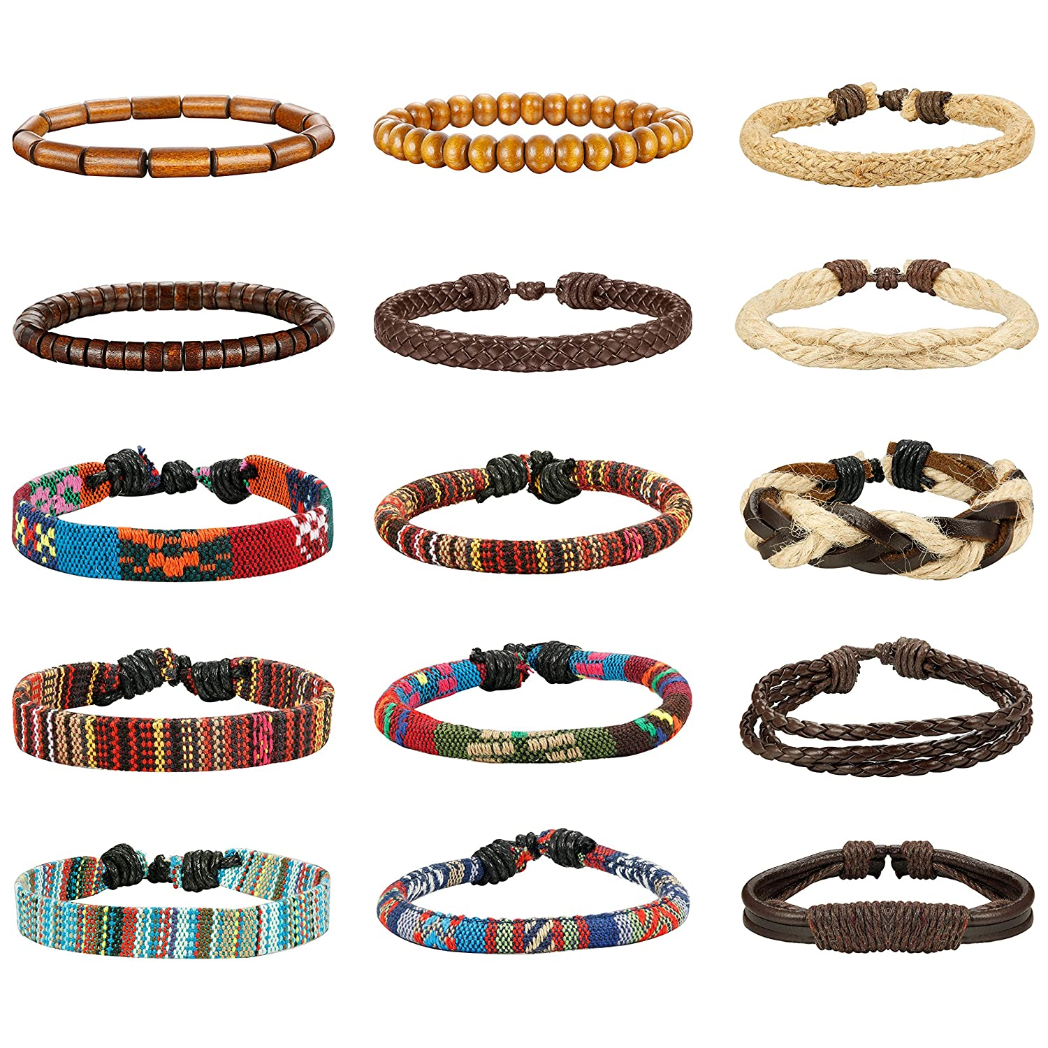 LOYALLOOK 15pcs Men Women Linen Hemp Cords Wood Beads Ethnic Tribal Bracelets Leather Wristbands DGB0001F