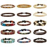 Amazon Price History for:LOYALLOOK 15pcs Men Women Linen Hemp Cords Wood Beads Ethnic Tribal Bracelets Leather Wristbands
