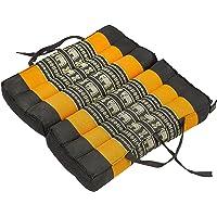 Handelsturm Thaikissen Opvouwbaar zitkussen 40x40 voor ontspanning, meditatie of yoga (oranje met olifanten)