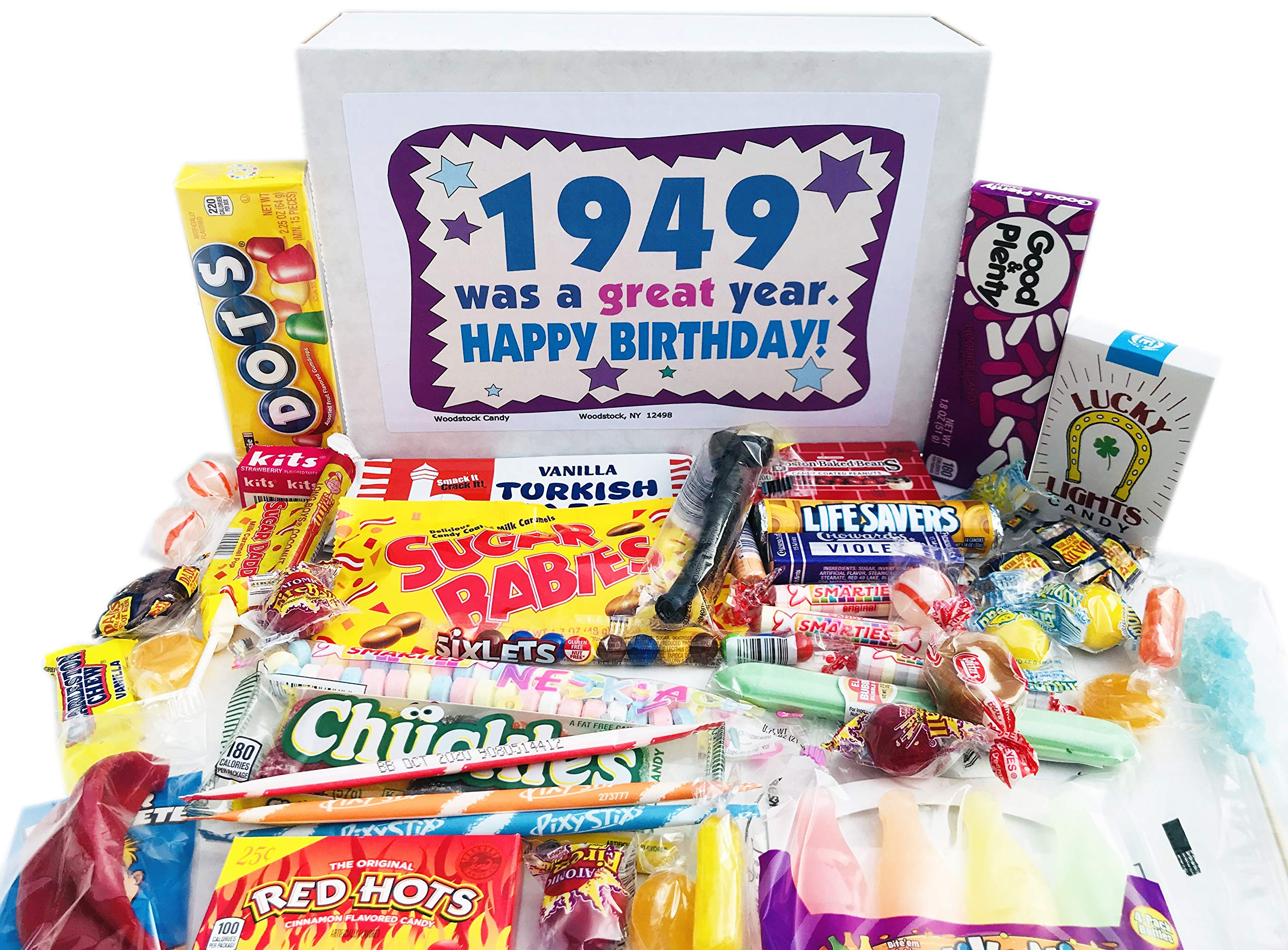 Woodstock Candy ~ 70th Birthday Gift Box of Retro Vintage Candy Assortment from Childhood for 70 Year Old Men and Women Born 1949 - Great Idea for Mom or Dad - Jr