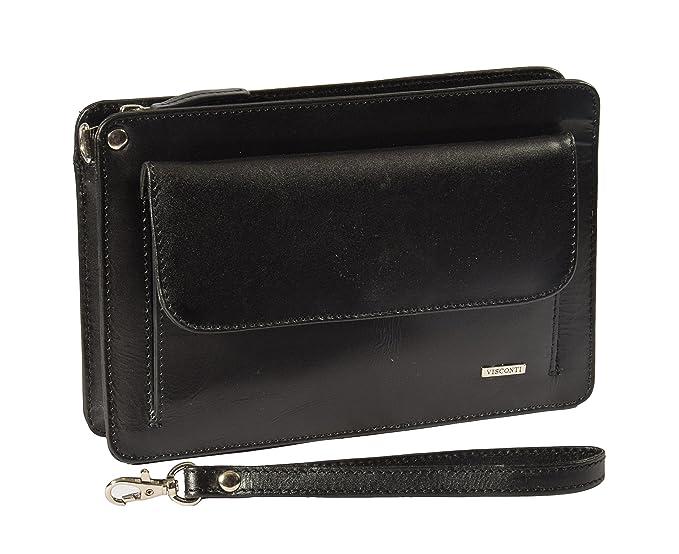 4482aecd0288 Mens Leather Wrist Bag A7 Black Travel Passport Mobile Clutch Cab Money Bag   Amazon.co.uk  Clothing