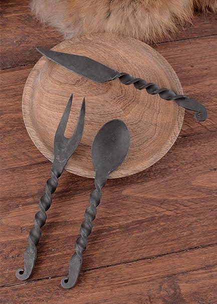 Cubertería forjado 3 teilig cuchillo, tenedor, cuchara - decoración - cubertería - medieval - la Edad Media - Vikingo: Amazon.es: Deportes y aire libre
