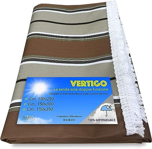 Toldo Vertigo de Exterior para jardín, balcón o balcón con Rayas Marrones Impermeable y Repelente al Agua - 150 x 300 cm.: Amazon.es: Hogar
