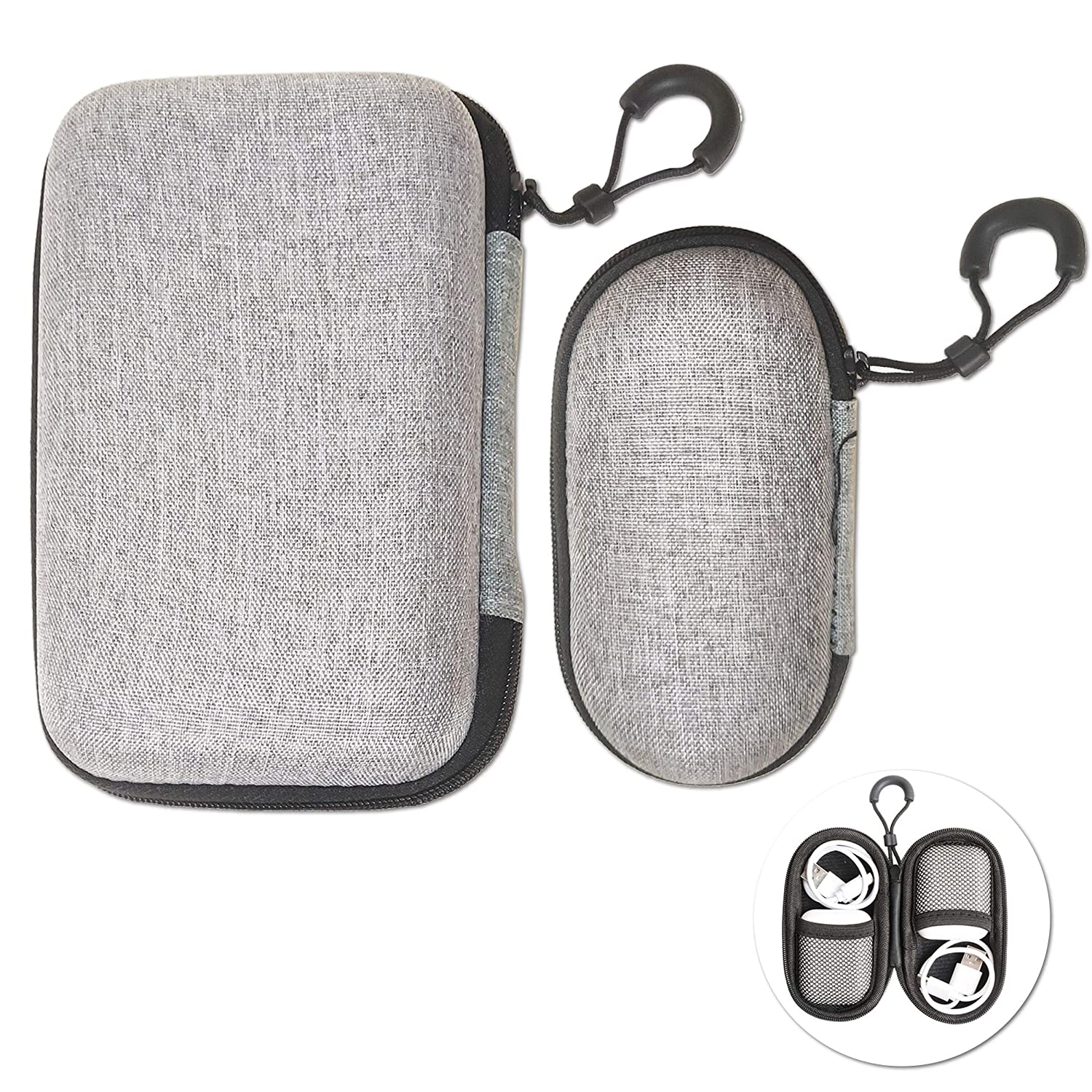 2 Pcs Universal Mini Headphone Case with Lanyard Easy to Carry Earphone Bag for Cable USB Driver