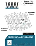 "30-up FBA, Name and Address Mailing Labels - 100 Sheets - 3,000 Labels - 30 Labels per sheet, 2-5/8"" inch x 1"" inch White Labels - Standard size Address label stickers"