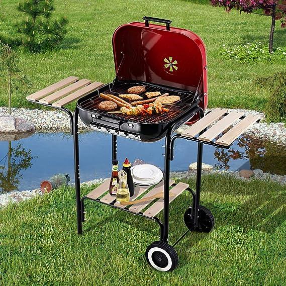 Outsunny Barbacoa de Carbón Picnic con Estantes de Madera Parrillas Asador BBQ Patio Acampada Multifuncional Parilla de Carbón Vegetal 98x49x81cm con ...