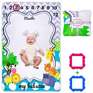 """My Bubszee Baby Monthly Milestone Blanket for Baby Boy and Girl, Baby Photo Blanket for Newborn Baby Shower, Monthly Blanket for Baby Pictures, Includes 2 Frames, Large Extra Soft 60""""x40"""""""