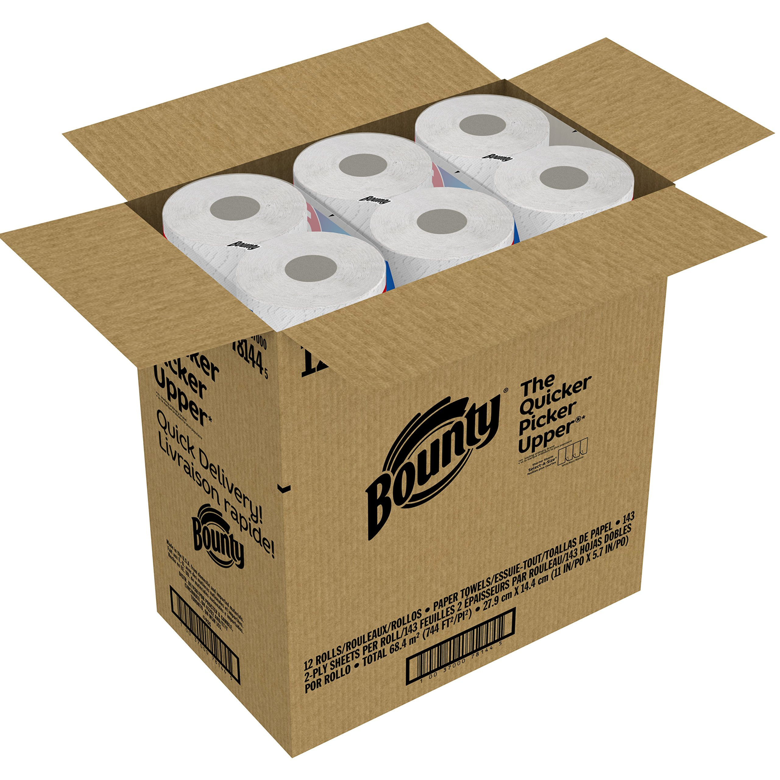 Bounty Quick-Size Paper Towels, White, Family Rolls, 12 Count (Equal to 30 Regular Rolls) by Bounty (Image #8)