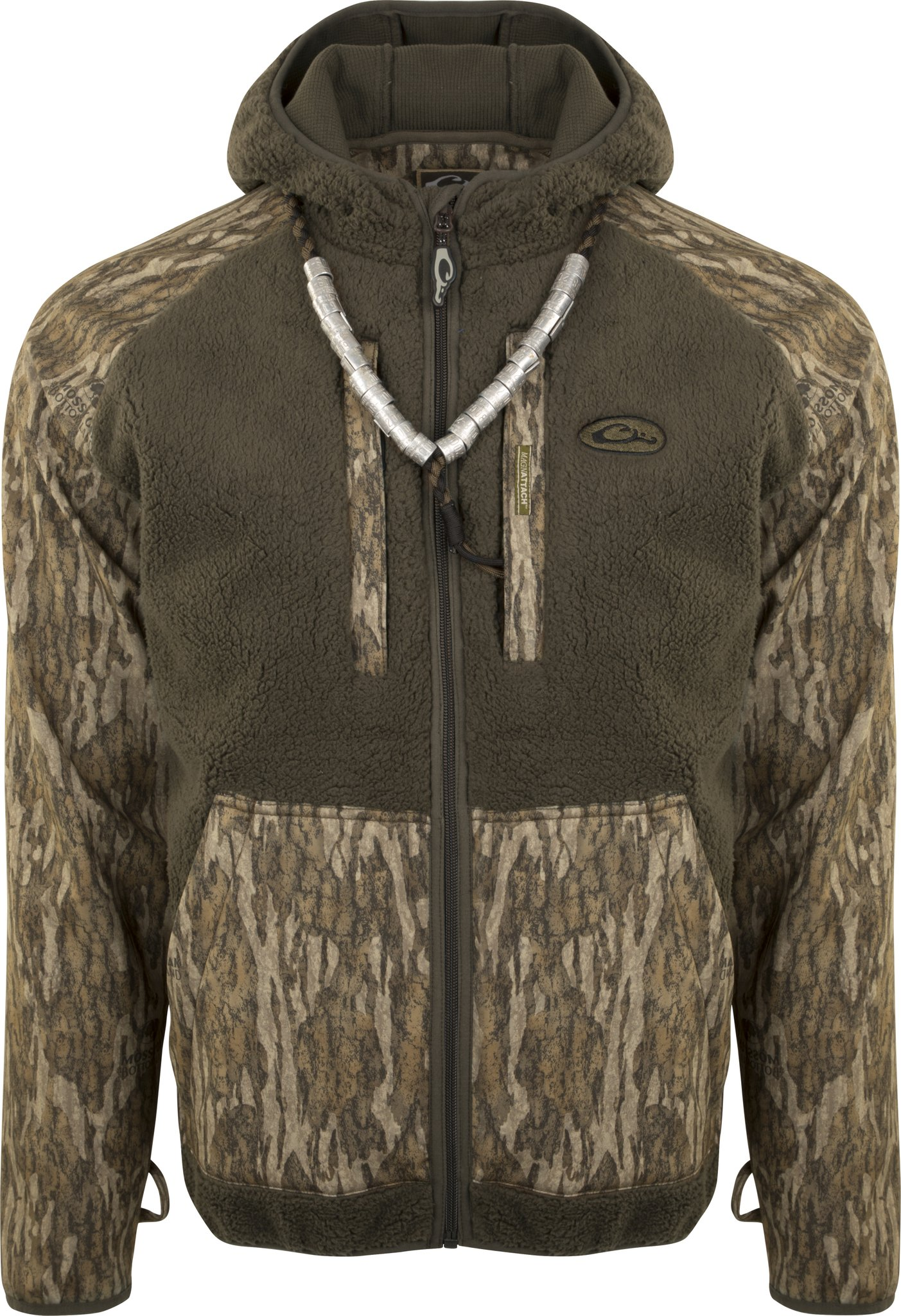 Drake MST Sherpa Fleece Hybrid Linder Full Zip with Hood (Bottomland, Medium)
