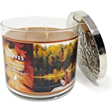 Bath and Body Works White Barn Leaves 3 Wick Candle 14.5 Ounce Brown Wax
