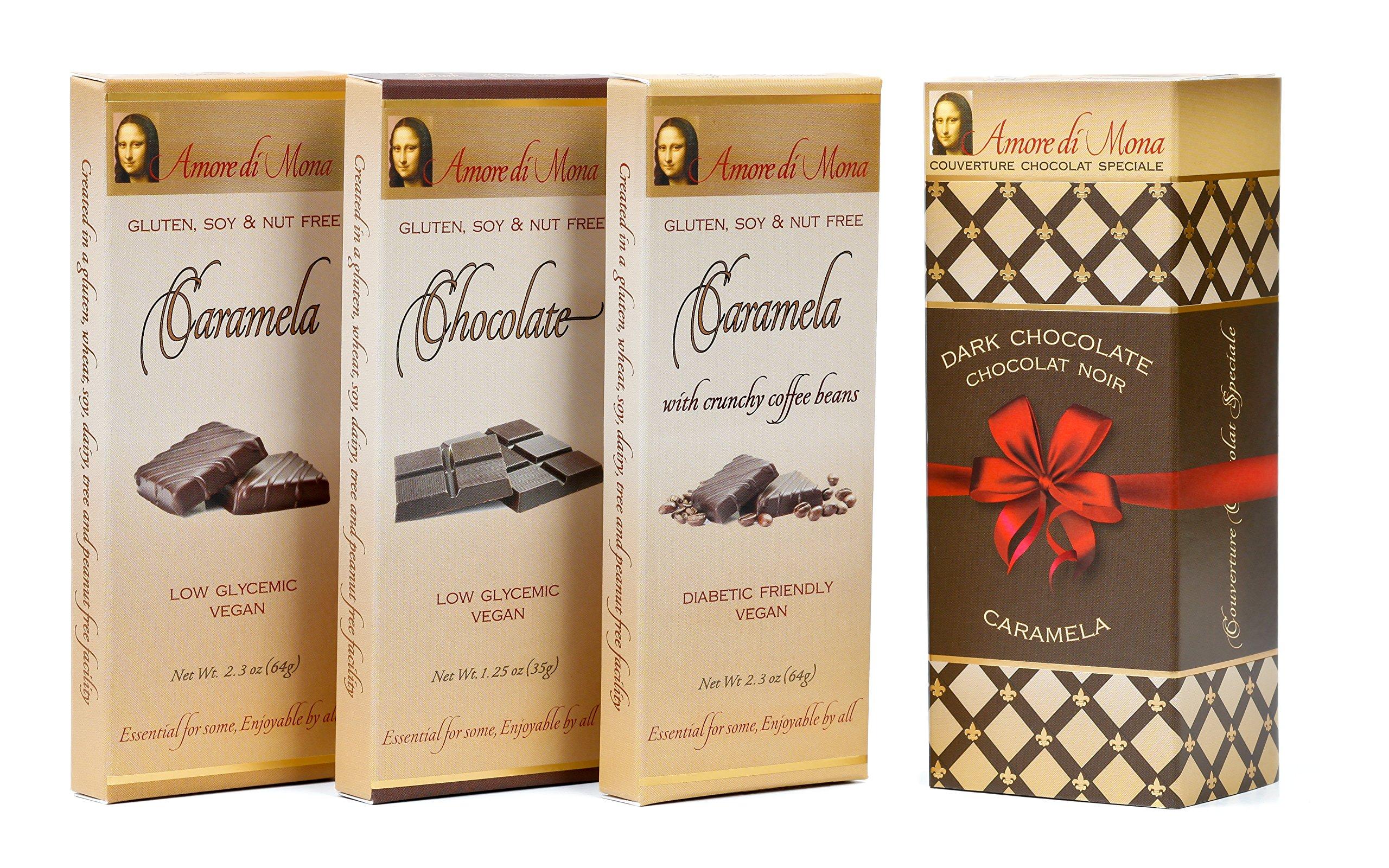 Amore di Mona Artisanal Vegan Chocolate Gift - Primo 3 Pack: Chocolate, Caramela, Coffee Caramela. Premium Ingredients are All Natural, Non-GMO, Kosher. Gluten, Soy, Sesame, Milk, Nut Free