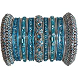 Indian Bridal Collection! Panache' Turquoise Bangle Set in Silver Tone By BangleEmporium X-Small Size 2.4
