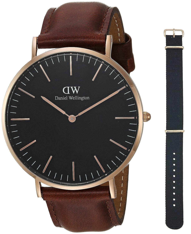 ダニエルウェリントンギフトセット、クラシックブラックSt Mawes 40 mm腕時計withコーンウォールストラップ B076FZ8YP4