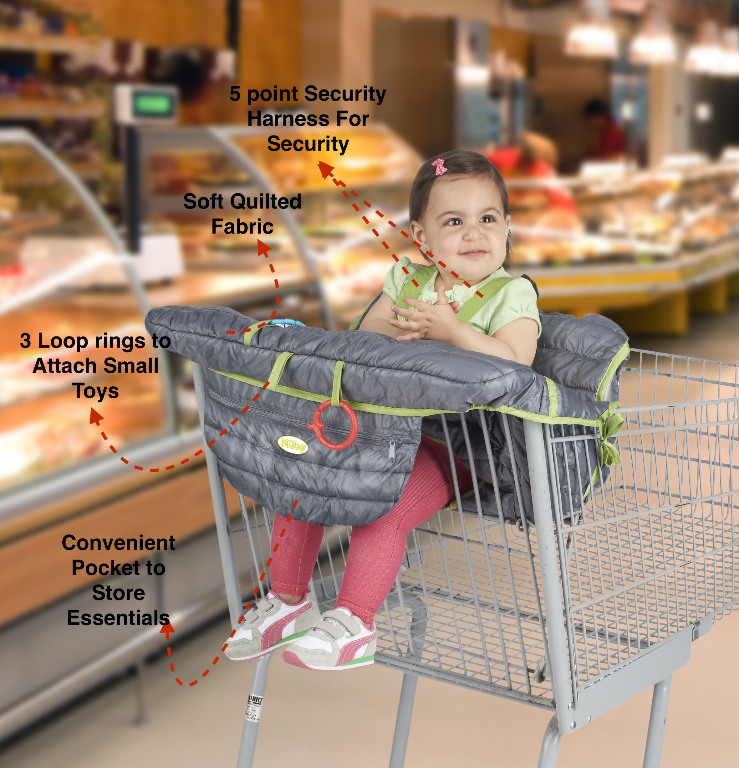 Nuby 2-in-1 Universal Size Quilted Shopping Cart and High Chair Cover, Grey by Nuby (Image #1)