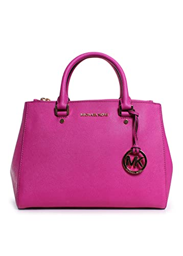 83185fe088ed Michael Kors Sutton Medium Satchel Fuschia Leather: Handbags: Amazon.com