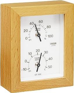 クレセル 天然木 温度計・湿度計 CR-650W