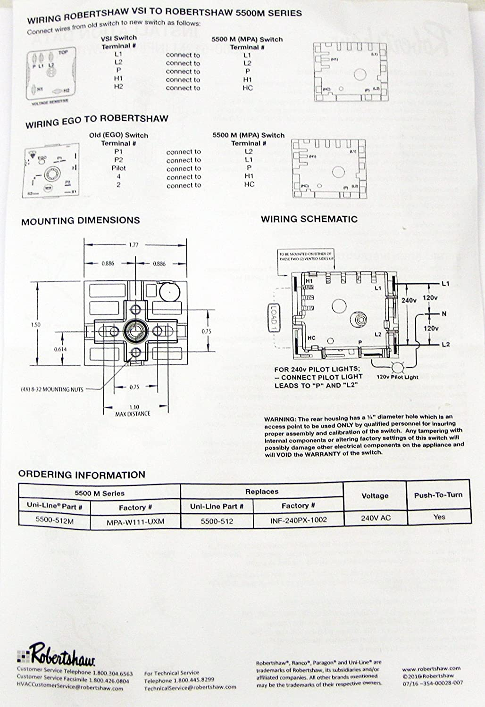 Robertshaw Range Burner Infinite Switch 5500 512 Home Wiring Diagram Kitchen