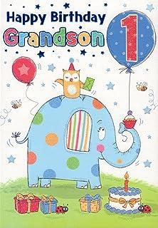 Happy 1st Birthday Boys Greeting Card To Grandson Blue Baby Luxury