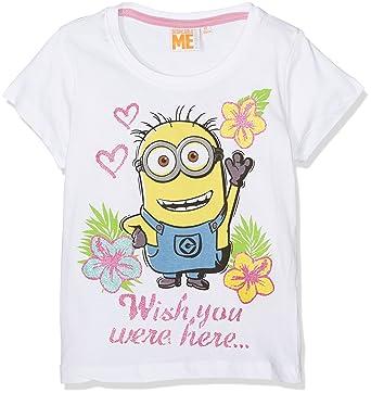 6c021a57b348a MINIONS Despicable Me Fille Tee-shirt - blanc  Amazon.fr  Vêtements et  accessoires