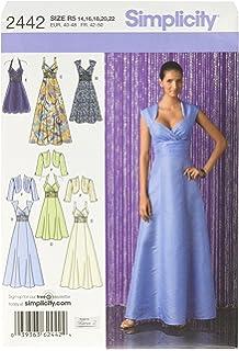 Simplicity 2442 R5 - Patrones de costura para vestidos de fiesta (tallas 42 a 50
