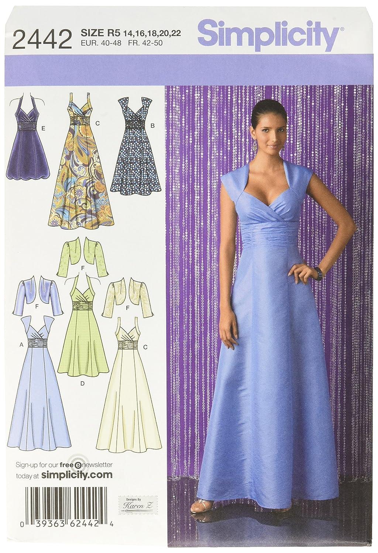 8754109283b0 Simplicity 2442 R5 - Patrones de Costura para Vestidos de Fiesta (Tallas 42  a 50)